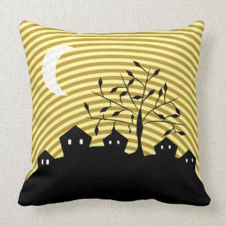 Strange village at night throw pillow