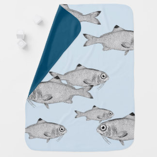 Strange vintage fish drawing baby blanket