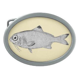 Strange vintage fish drawing belt buckle