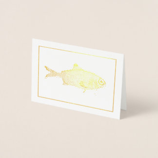 Strange vintage fish drawing foil card