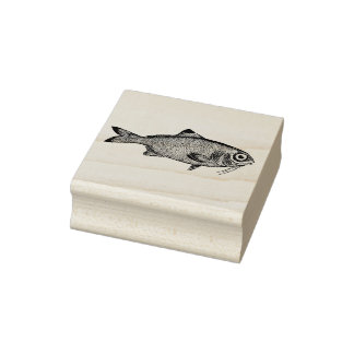 Strange vintage fish drawing rubber stamp