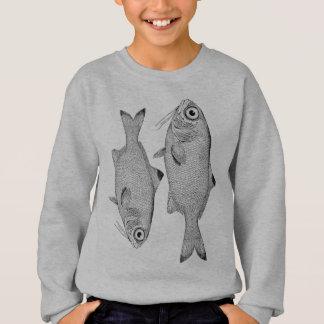 Strange vintage fish drawing sweatshirt