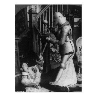 Strange Vintage Victorian Man and Knight Postcard