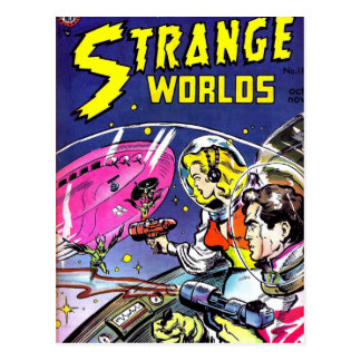Strange Worlds Comic Book Postcard
