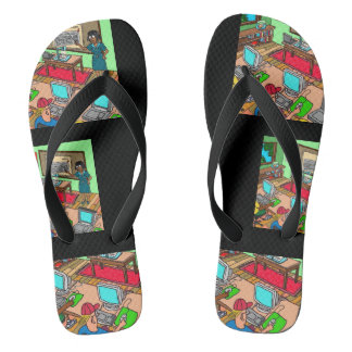 strangely different flip flops for him by DAL
