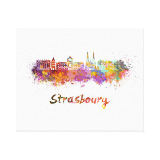 Strasbourg skyline in watercolor canvas print