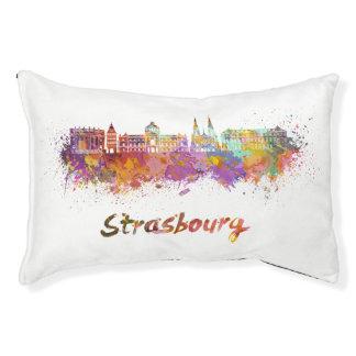Strasbourg skyline in watercolor pet bed