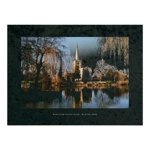 Stratford Church across river Avon. Poster
