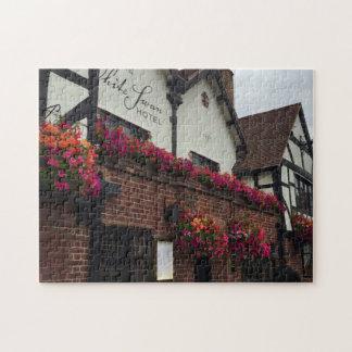 Stratford Upon Avon England UK Tudor Hotel Flowers Jigsaw Puzzle