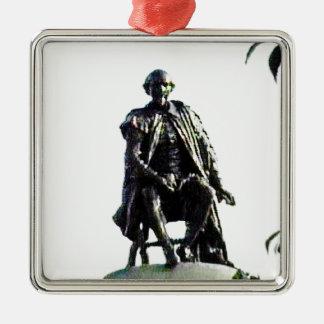 Stratford-upon-Avon Shakespeare Statue jGibney Silver-Colored Square Ornament
