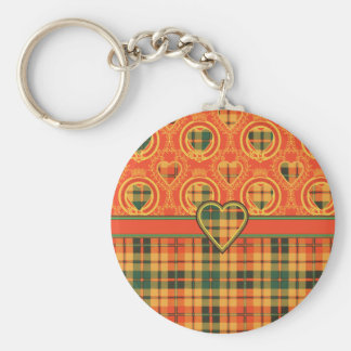 Strathearn Scottish Tartan Basic Round Button Keychain