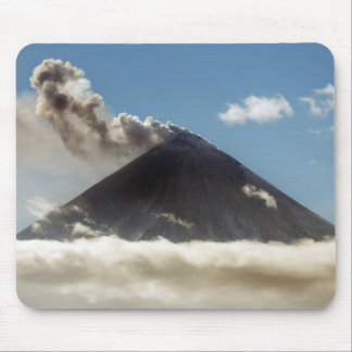 Stratovolcano plume of gas, steam, ash from crater mouse pad