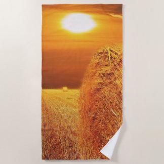 Straw Bales Sunset Beach Towel