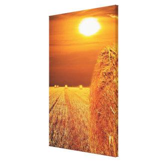 Straw Bales Sunset Canvas Print