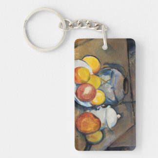 STRAW-COVERED VASE, SUGAR BOWL AND APPLES, Double-Sided RECTANGULAR ACRYLIC KEYCHAIN