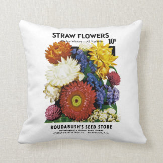 Straw Flowers Seed Packet Label Throw Pillow