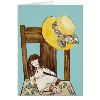 Straw hat,chair and doll Blank inside Note Card