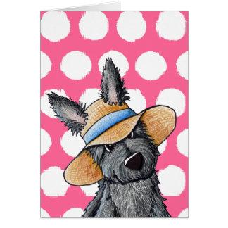 Straw Hat Scottie Dog Card