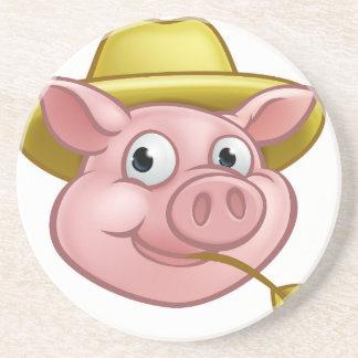 Straw Pig Cartoon Character Coaster