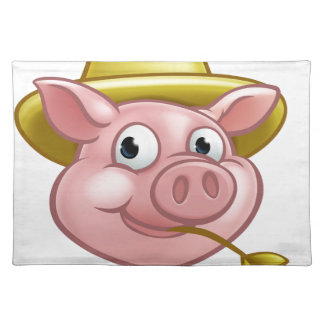 Straw Pig Cartoon Character Placemat