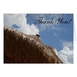 straw umbrella thank you card, blank inside card