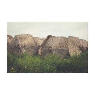Straw umbrellas canvas print