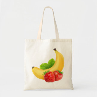 Strawberries and banana budget tote bag