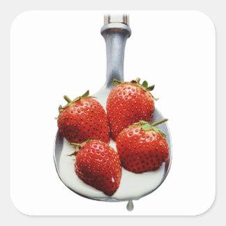 Strawberries and Cream Square Sticker