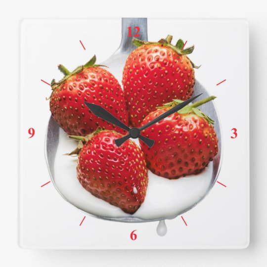 Strawberries and Cream Square Wall Clock