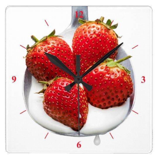 Strawberries and Cream Wall Clock