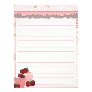 Strawberries And Cupcakes Art Letterhead