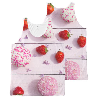 Strawberries and cupcakes print all over