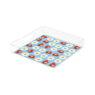 Strawberries and daisies acrylic tray