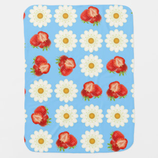 Strawberries and daisies baby blanket