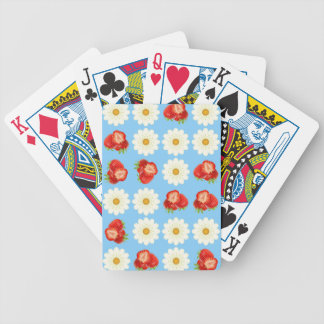 Strawberries and daisies bicycle playing cards