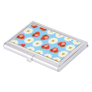 Strawberries and daisies business card holder