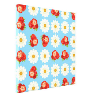Strawberries and daisies canvas print
