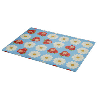 Strawberries and daisies cutting board