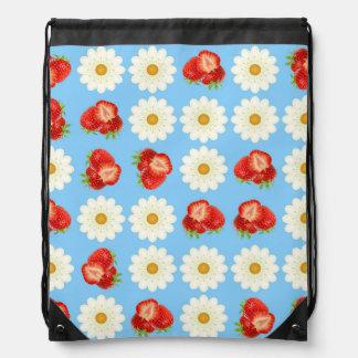 Strawberries and daisies drawstring bag