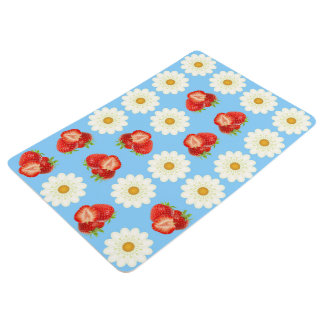 Strawberries and daisies floor mat