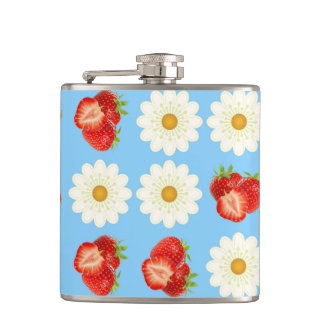 Strawberries and daisies hip flask