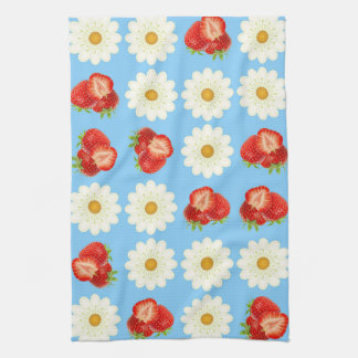Strawberries and daisies kitchen towel