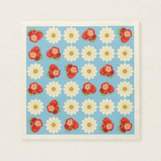 Strawberries and daisies paper napkin