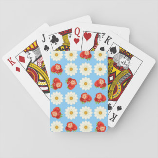 Strawberries and daisies playing cards