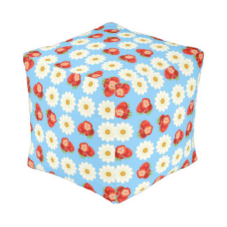 Strawberries and daisies pouf