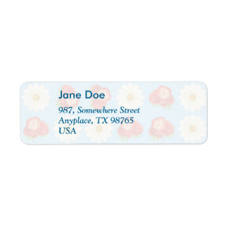 Strawberries and daisies return address label