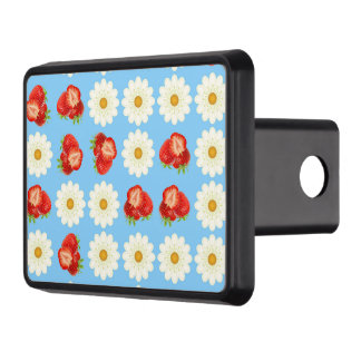 Strawberries and daisies trailer hitch cover