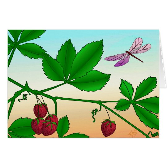 Strawberries and Dragonfly print Card