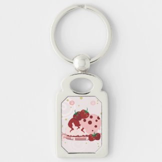 Strawberries And Ice Cream Art Silver-Colored Rectangle Keychain