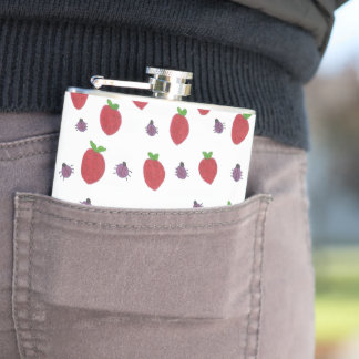 Strawberries and Lady Bugs Fruity Pattern Hip Flask